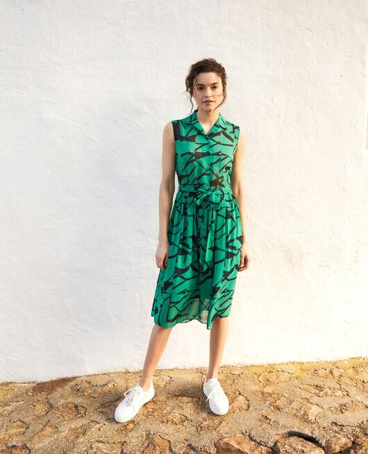 Printed dress PRIMITIVE LINES GREEN