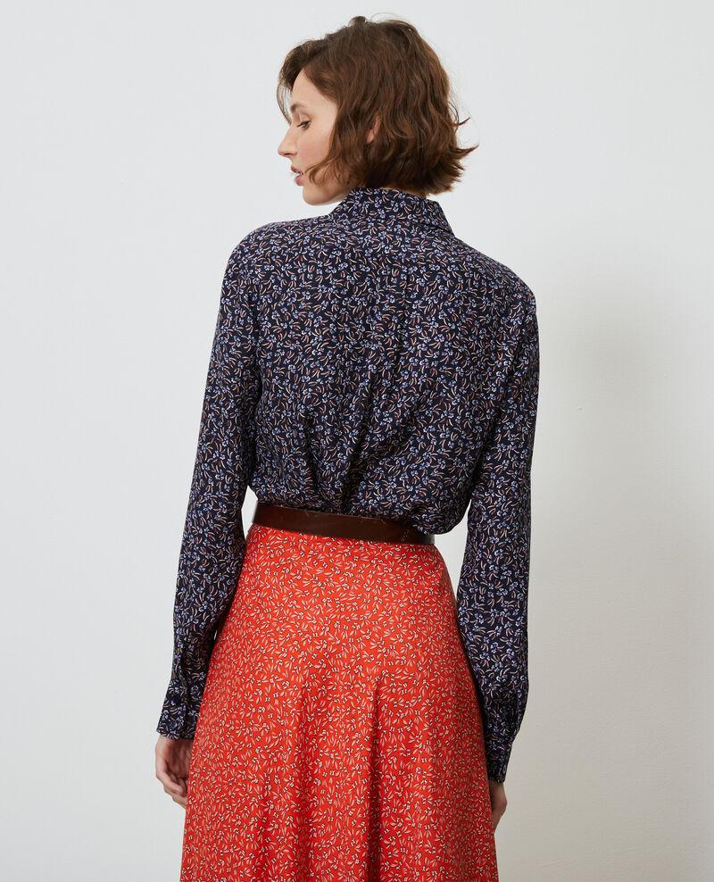 Printed silk shirt Clochette navy Nabilo