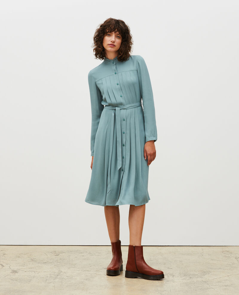 Pleated dress with belt  Treillis Marcilia