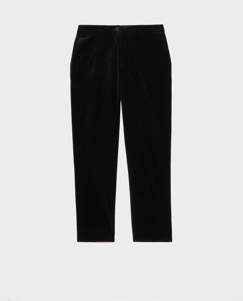 MARGUERITE trousers, 7/8 in velvet Navy deep Poko