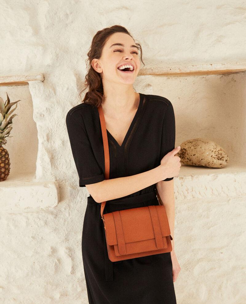 Smooth leather bag, small model Camel Garta