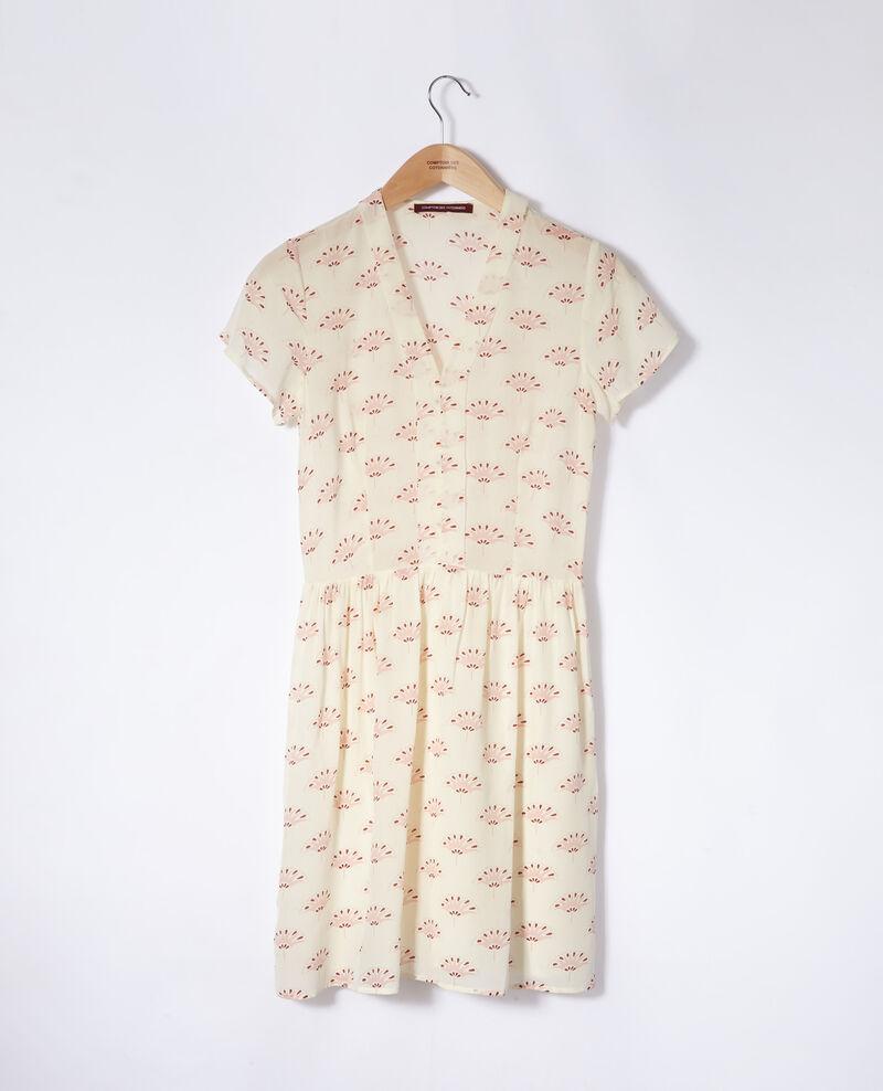 V neck dress Lotus fan winter white Ganaela