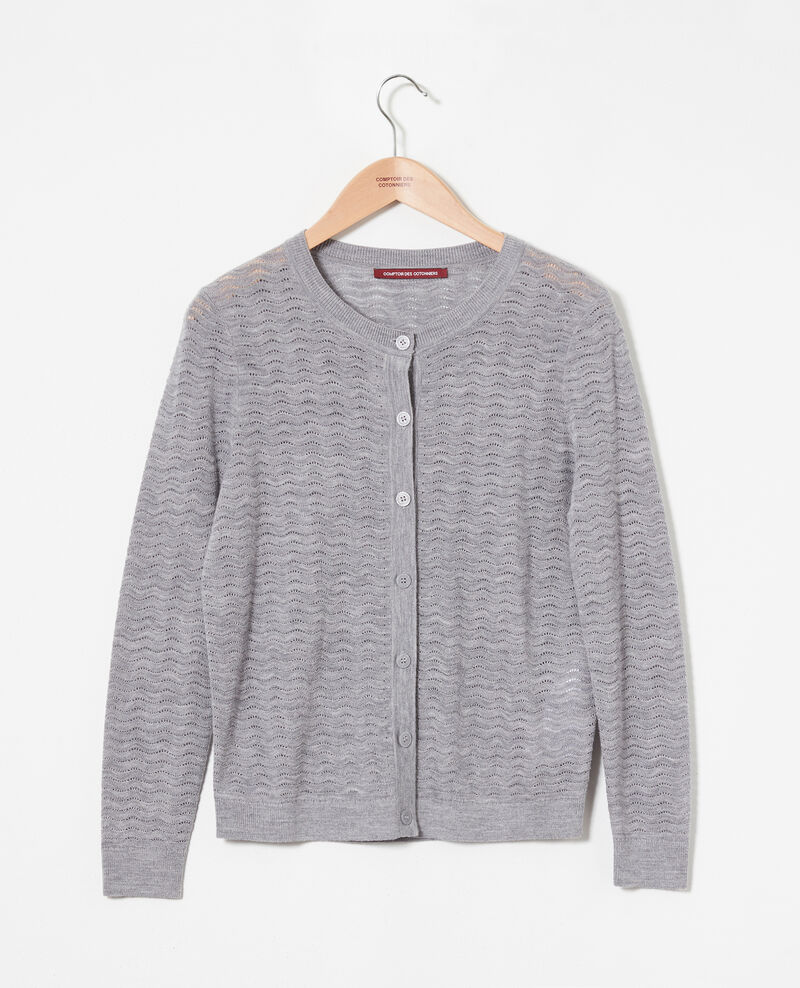 Cardigan 100% Merino Wool Medium grey Jemuel