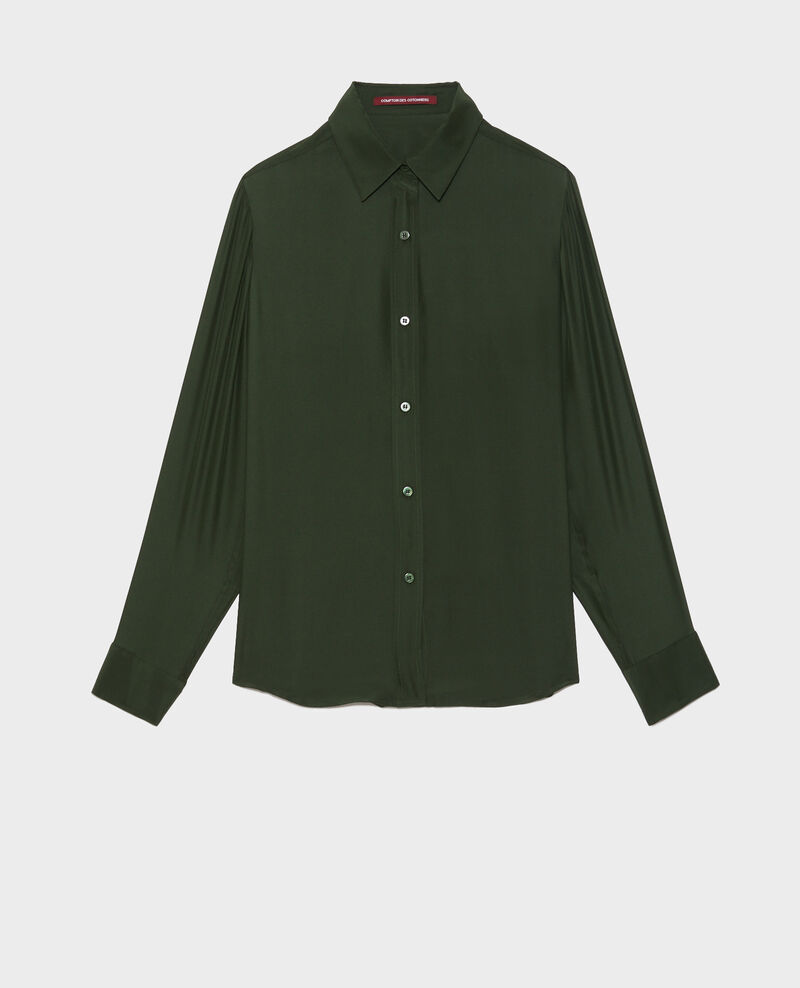 Long-sleeve silk men's shirt Military green Moriges