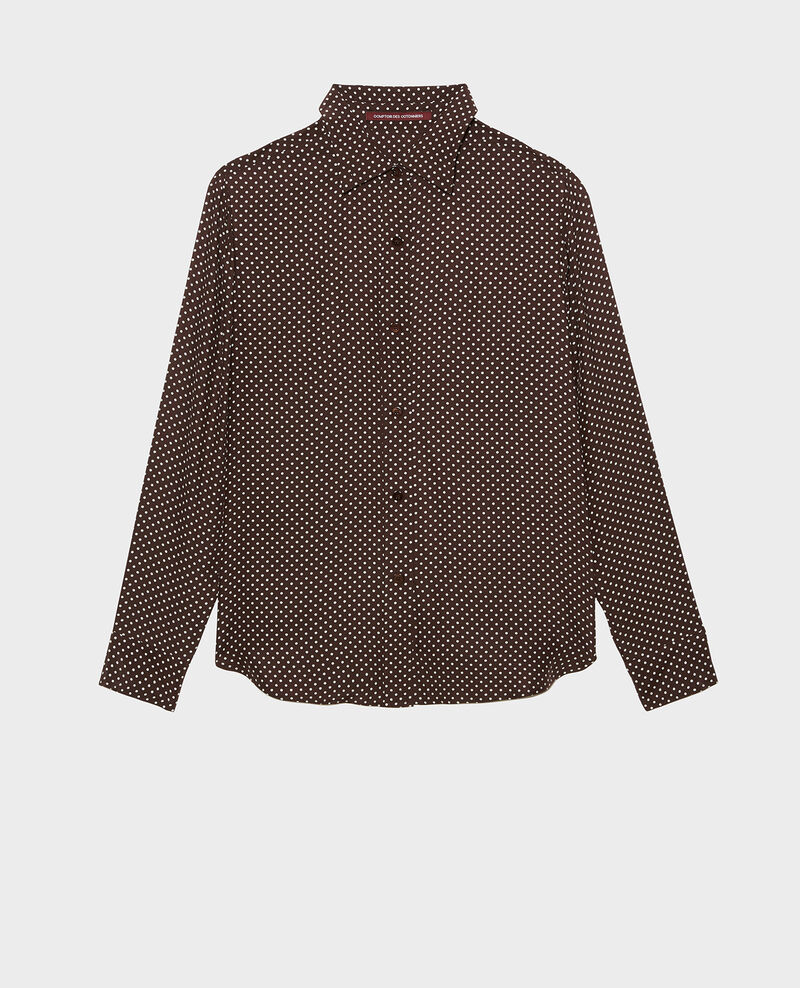 Long-sleeve silk men's shirt Little pois coffee bean Morigesa
