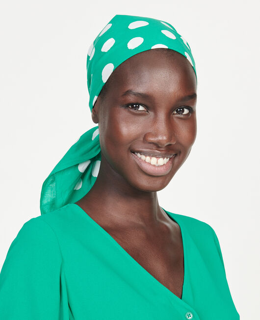 Cotton scarf GOLF GREEN