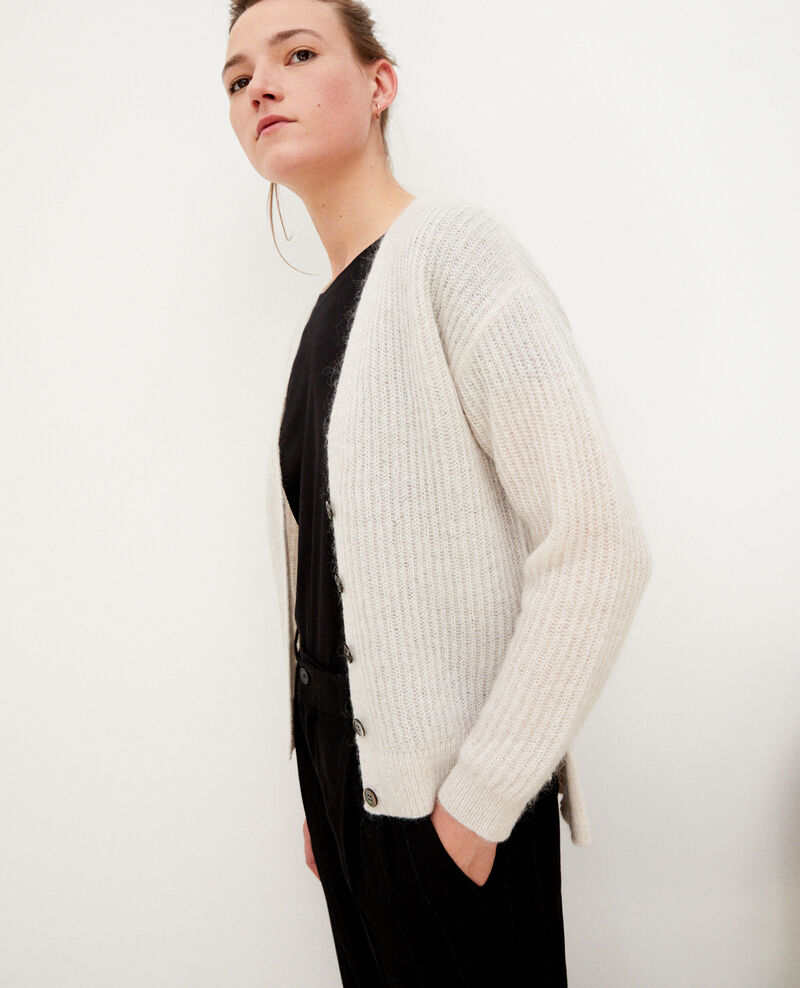 Mohair blend cardigan Silver gray/off white/lurex Guirlande