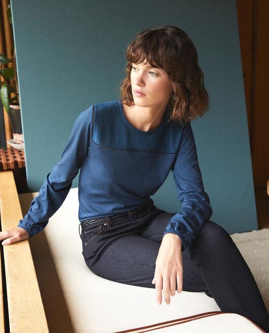 Bimaterial T-shirt with pompom details MAJOLICA BLUE