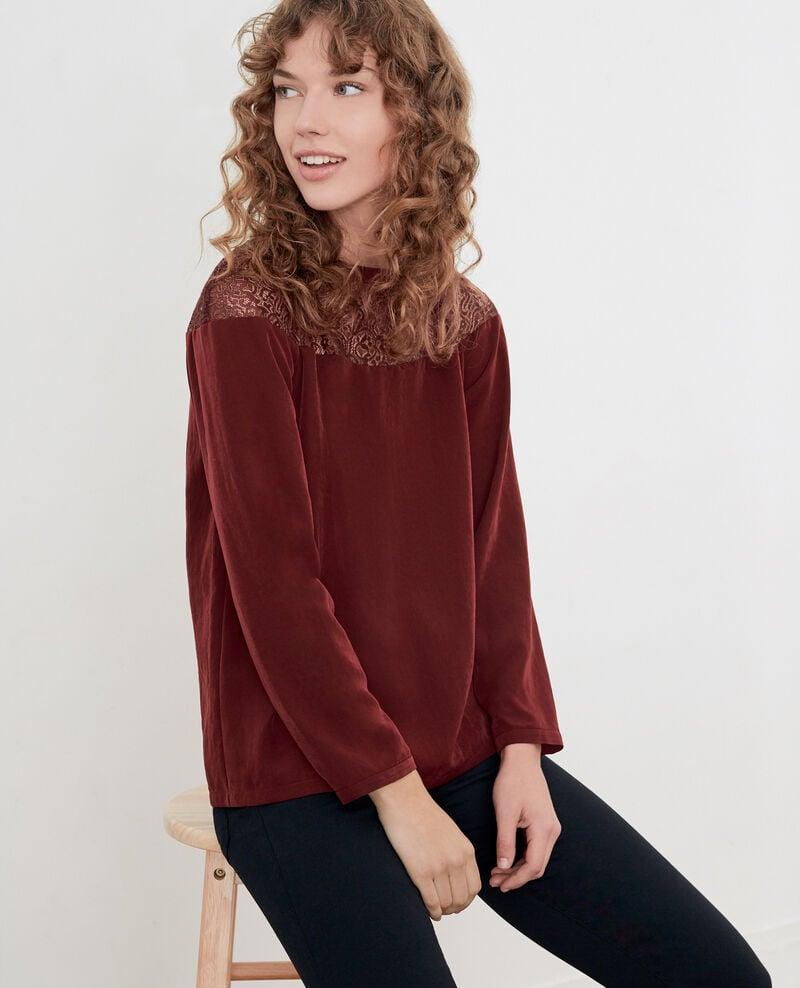 Satin and lace blouse Burgundy Dahalet