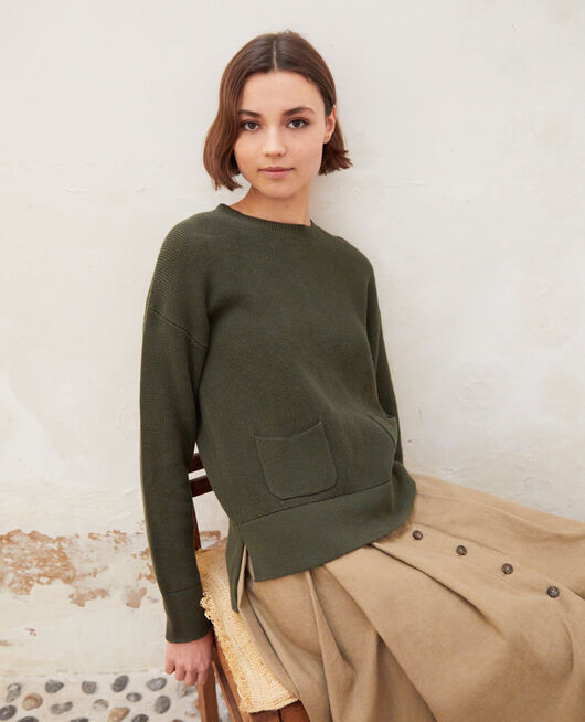 Round neck jumper OLIVE GREEN