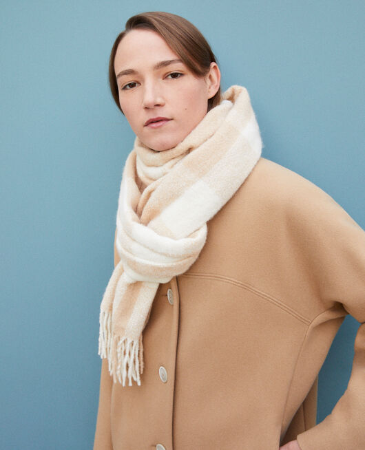 Long scarf SILVER GRAY/OFF WHITE