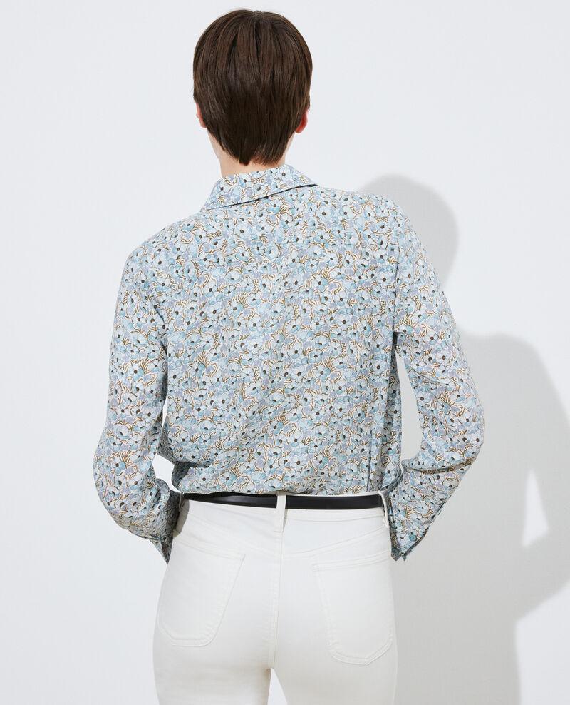 SIBYLLE - Long-sleeve silk shirt Art deco blue Misabethou