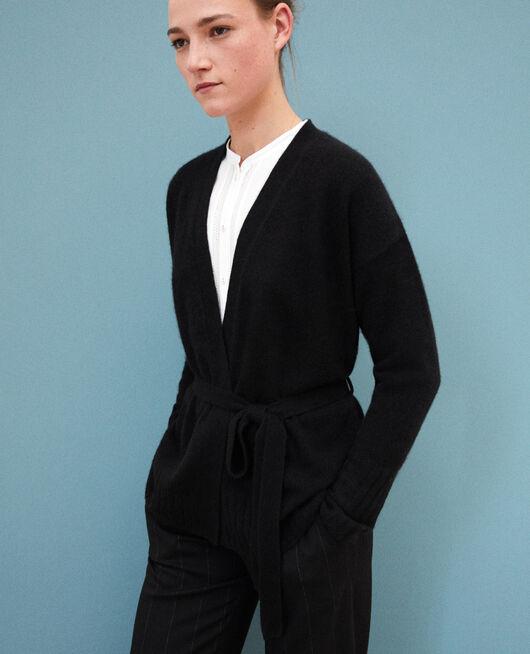 Wrapover cashmere cardigan NOIR