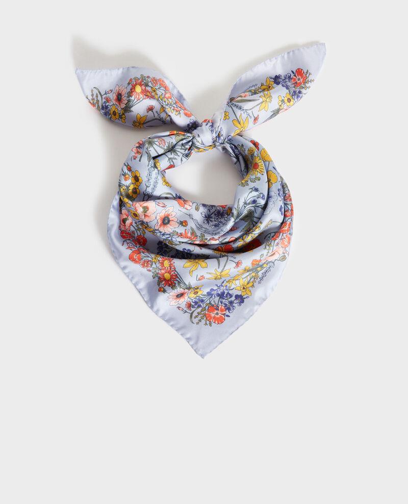 Square silk scarf Blue heron Nabis