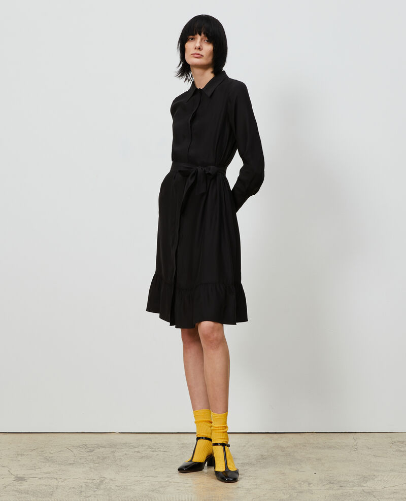 Silk shirt dress Black beauty Nishiga