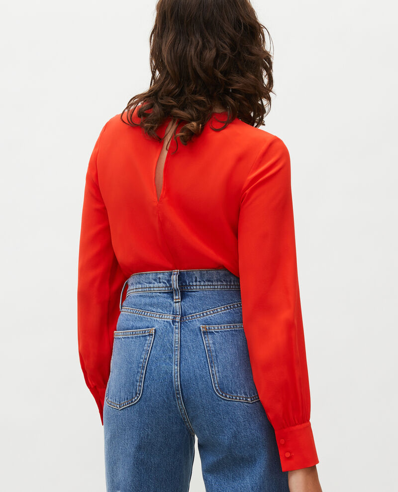 Embroidered silk blouse Fiery red Lolape