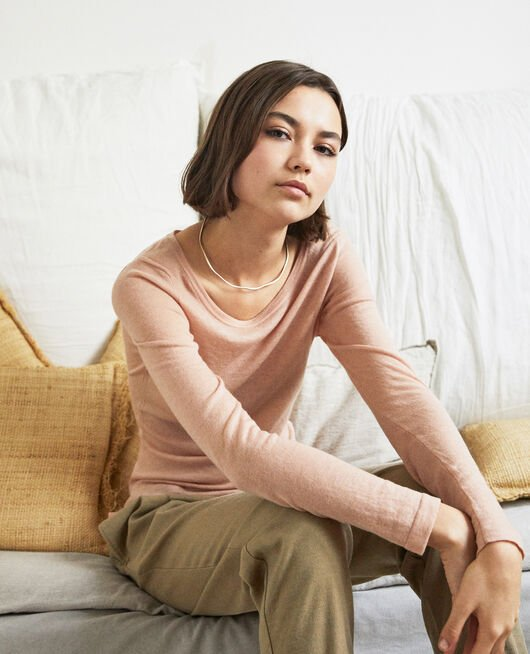 Round neck wool jumper PINK BEIGE