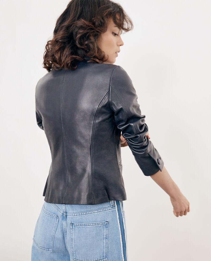 Leather jacket Navy Fibou