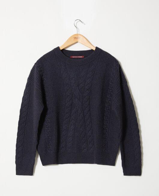 Cable-knit jumper DARK NAVY