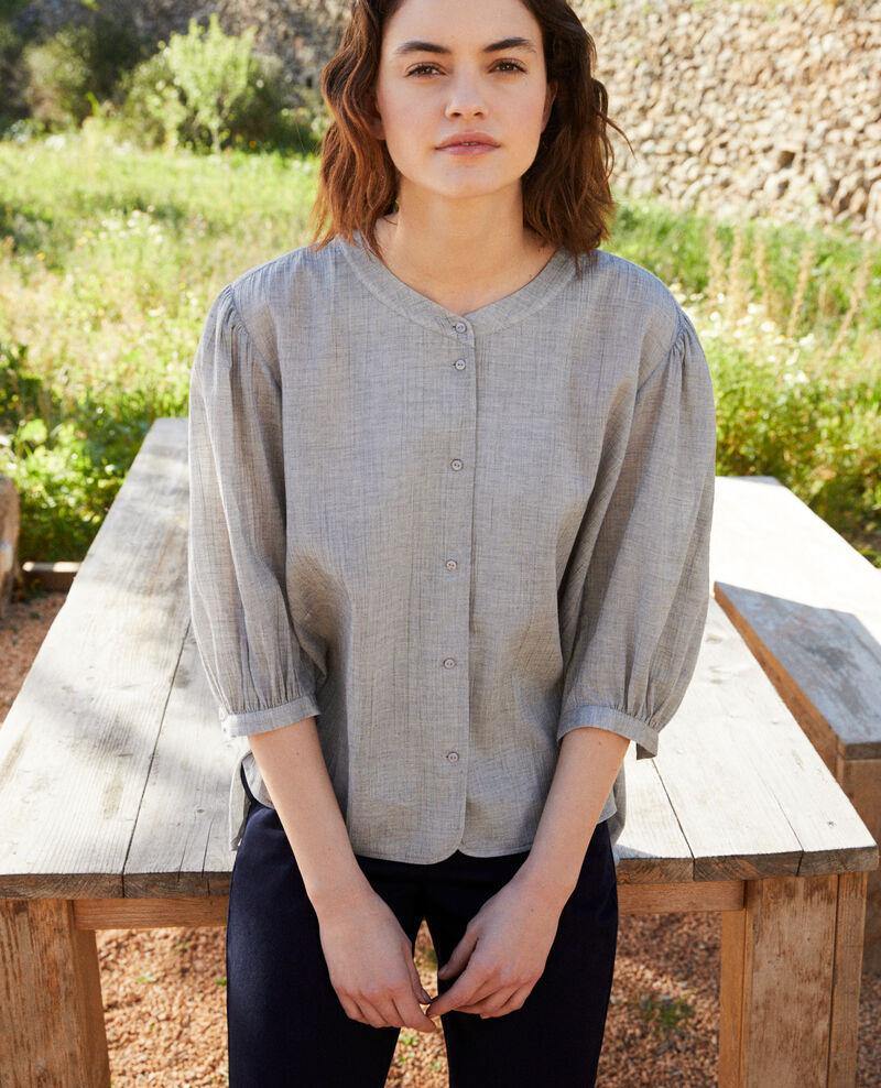 Round neck blouse Navy/white Idalia