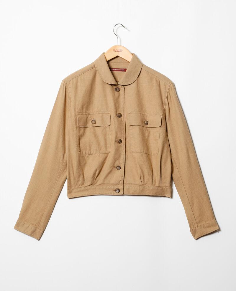 Linen blend bomber-style jacket Natural beige Ikebana