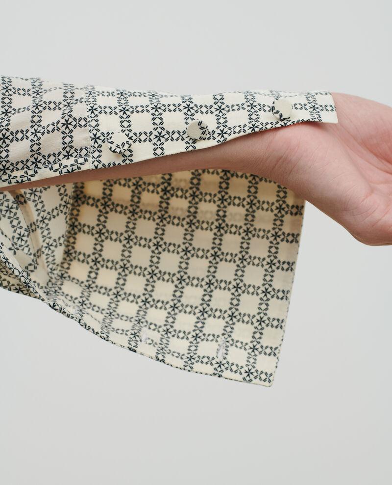 Printed silk top Check ecru Pabus