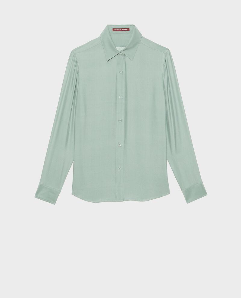 Long-sleeve silk men's shirt Chinois green Moriges