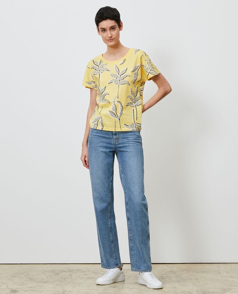 Round neck cotton t-shirt Prt bot lemon Nimeric