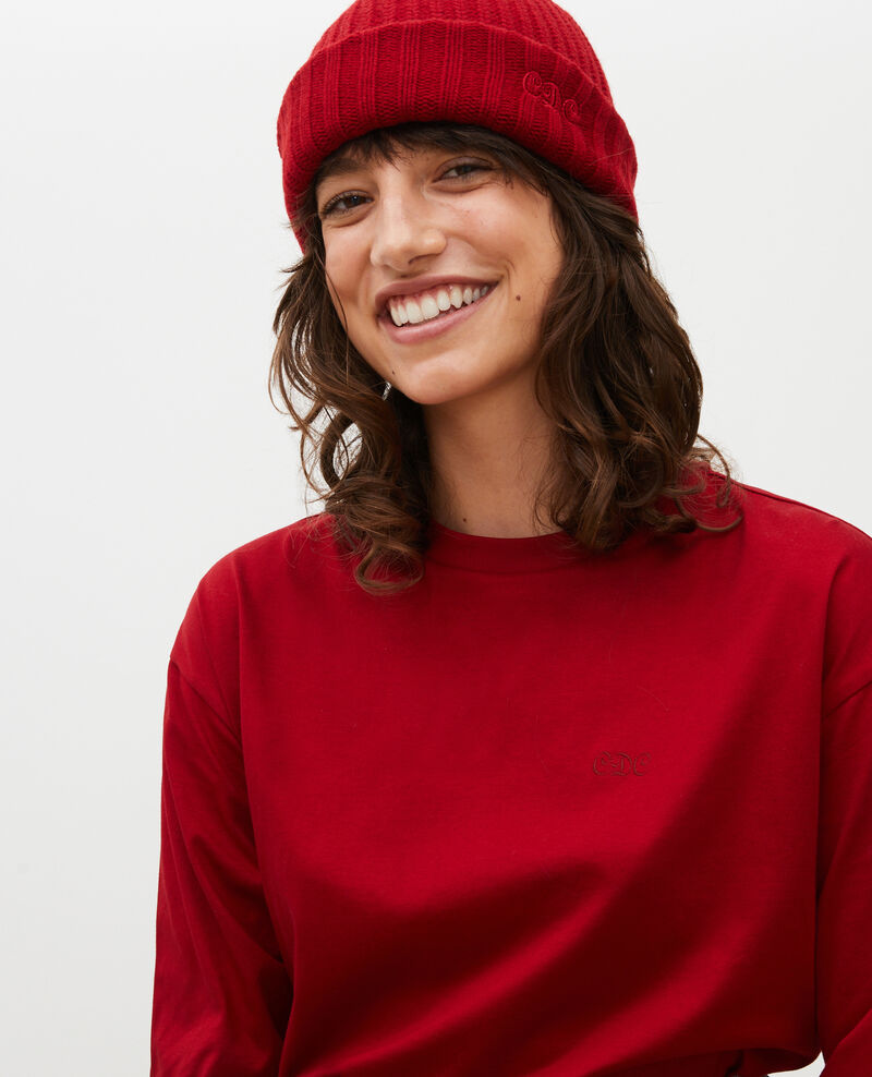 Round neck long-sleeve cotton t-shirt Royale red Mainzac