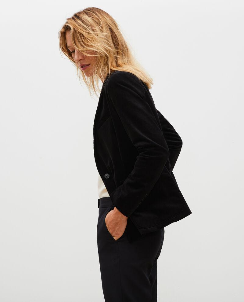 Two button corduroy blazer Black beauty Muscade