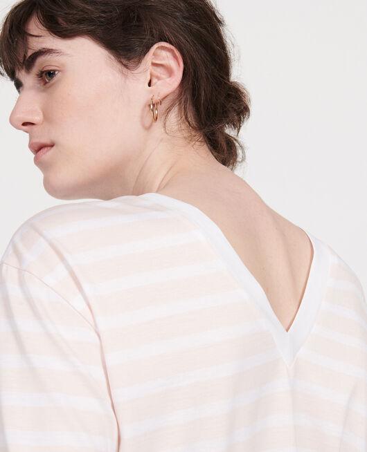 Egyptian cotton t-shirt STRIPES PRIMROSE PINK OPTICAL WHITE