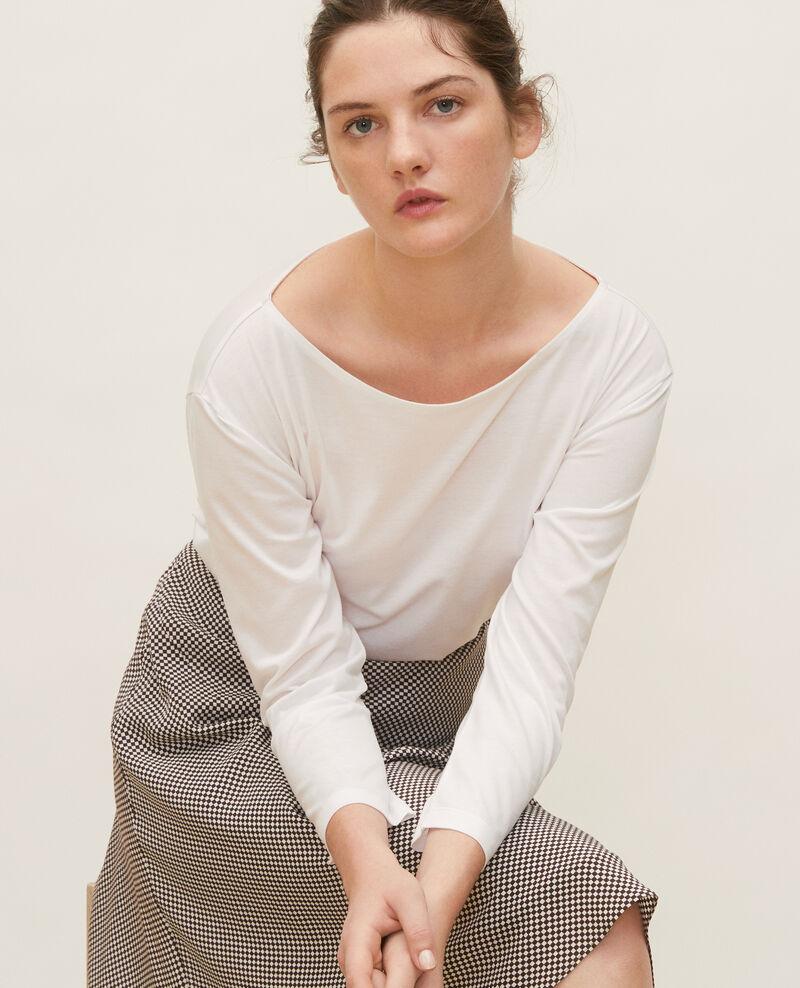 Boatneck long-sleeve cotton t-shirt Optical white Lotel