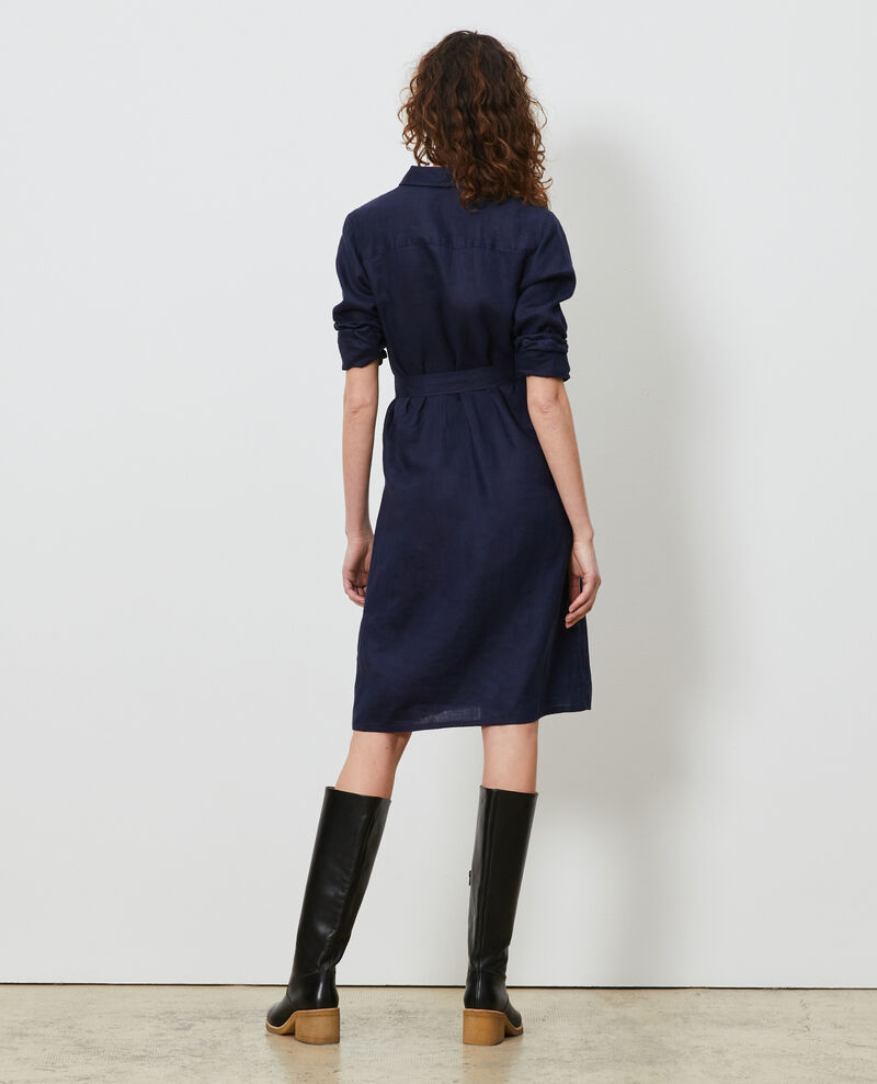 Linen shirt dress Maritime blue Lesprit