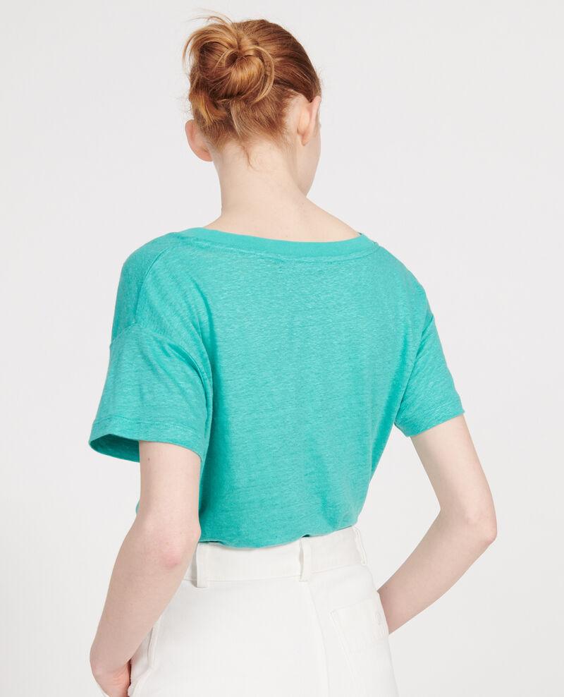 Linen t-shirt Bright aqua Locmelar