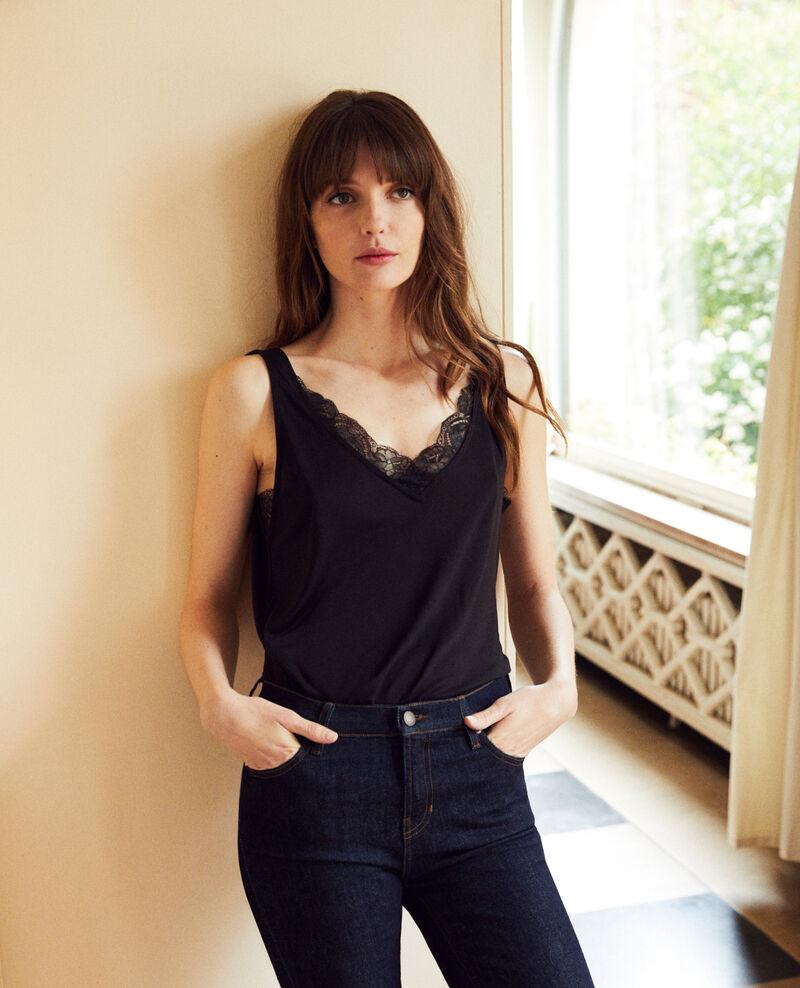 Vest top with lace Noir Jaia