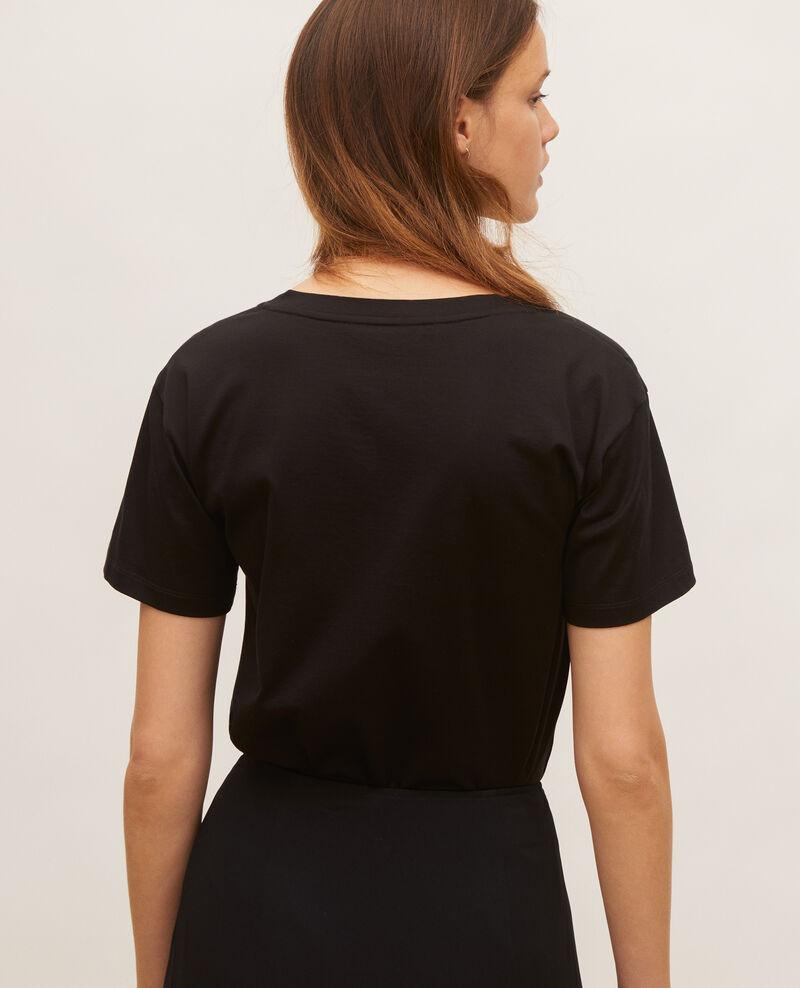 V-neck cotton t-shirt Black beauty Laberne