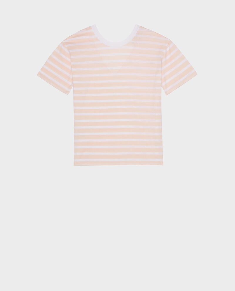 Egyptian cotton t-shirt Stripes primrose pink optical white Lisou