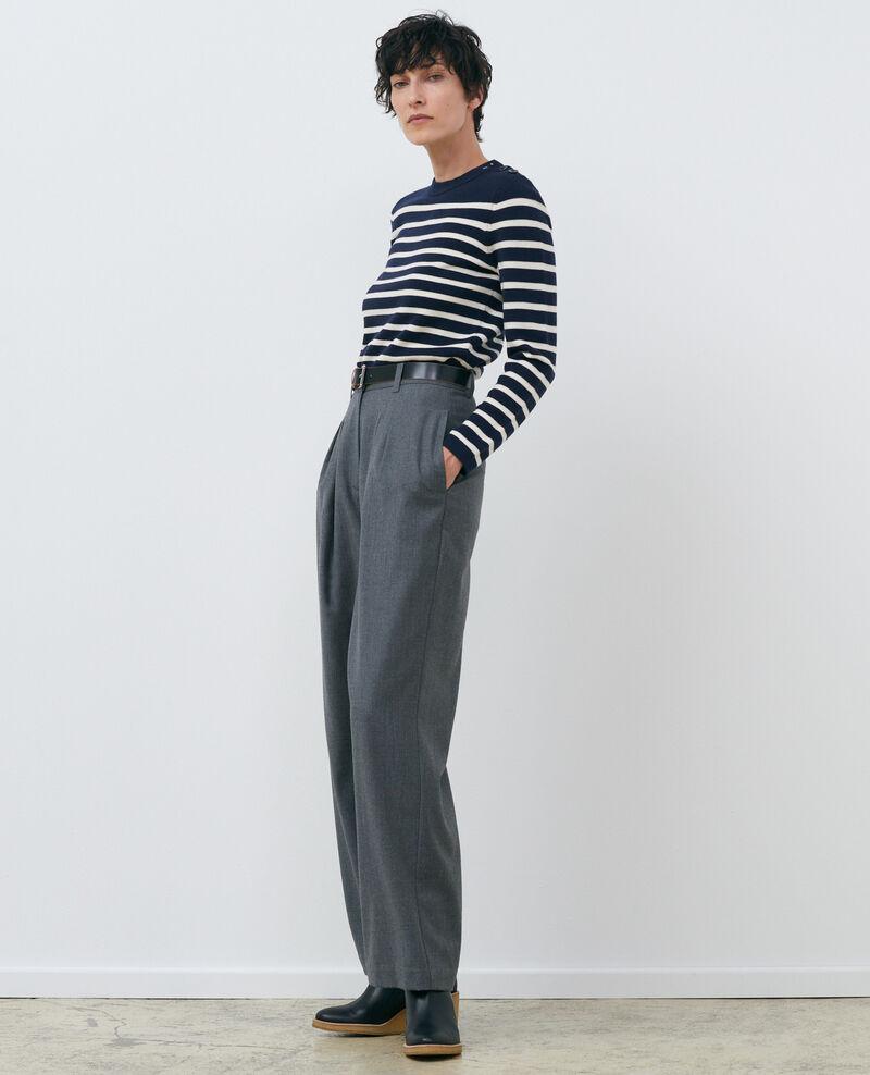 MADDY - Striped wool jumper Stp nv wht Liselle