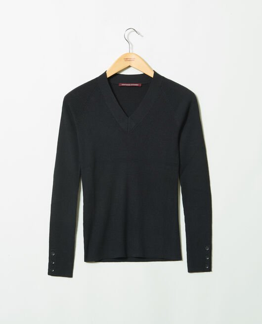 V-neck jumper 100% Merino Wool NOIR