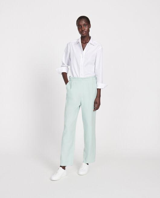 Linen and cotton trousers BLUE HAZE