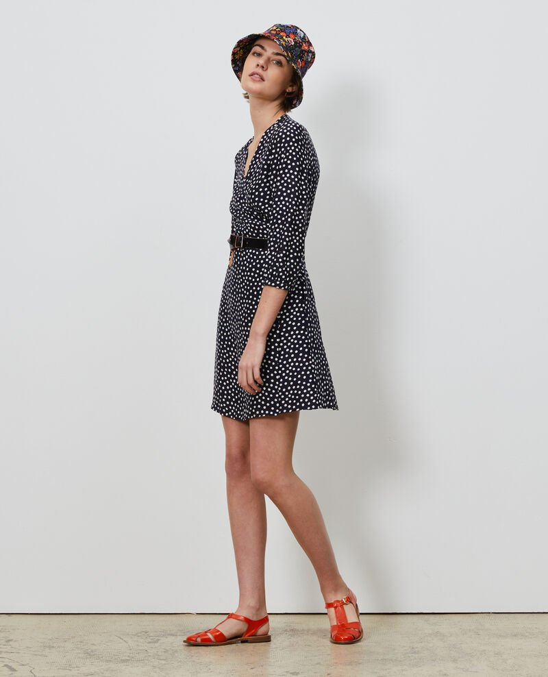 Silk wrap dress Small dots Nireclos