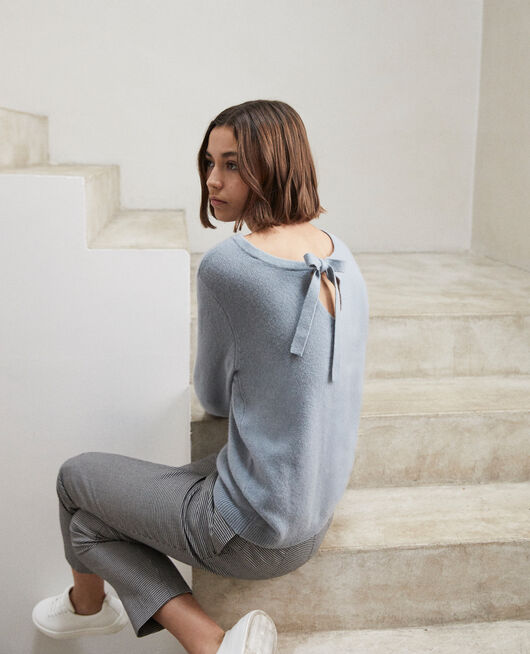 Round neck cashmere jumper BLUE MIRAGE