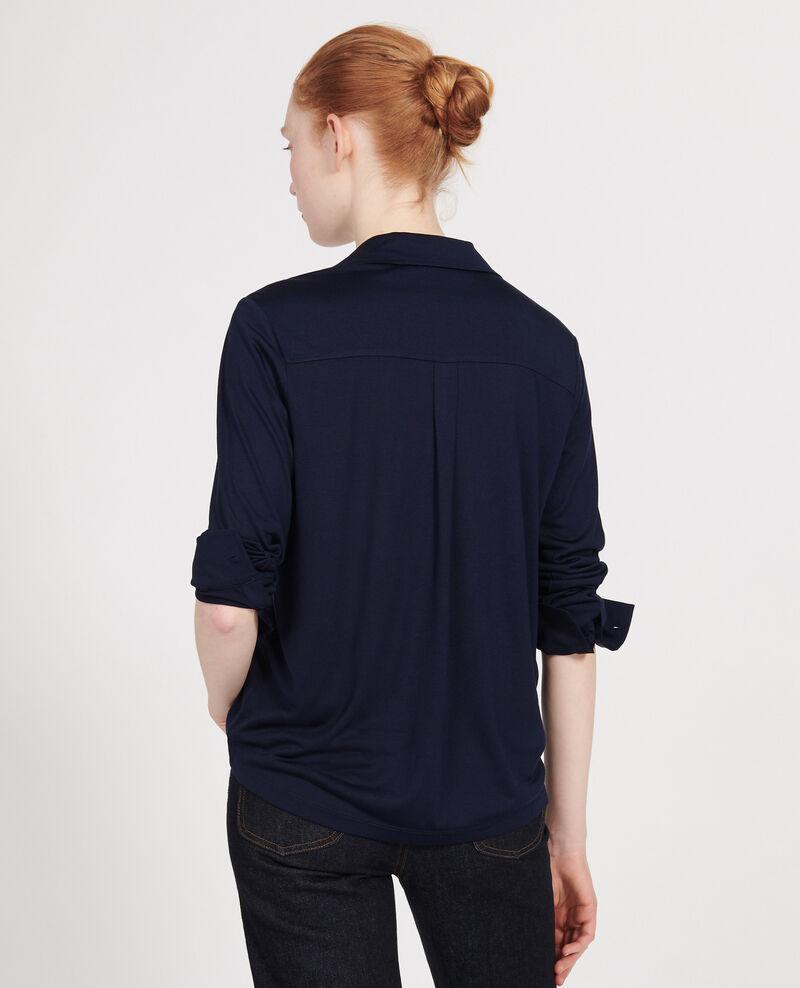 Silk jersey shirt Maritime blue Leanor