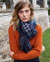 Tartan-print scarf Bleu Jecossai