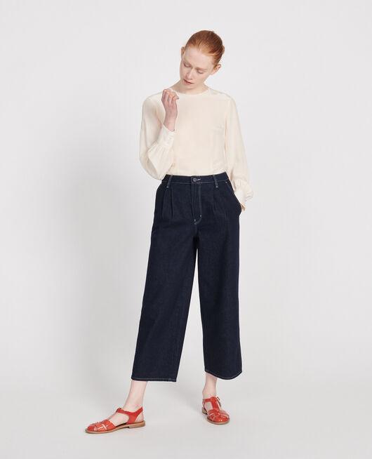 Dark wide leg cropped jeans DENIM RINSE