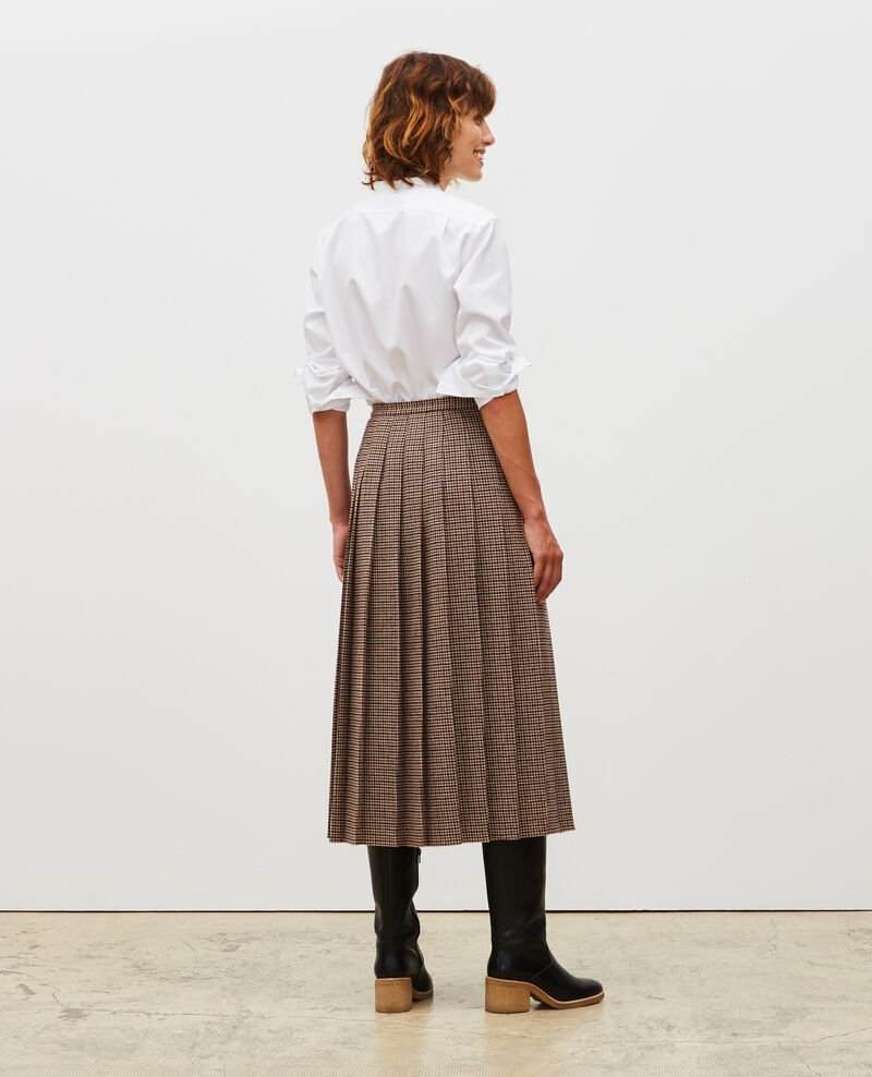 Pleated wool tweed skirt Check-wool-pattern-tailoring Mialos