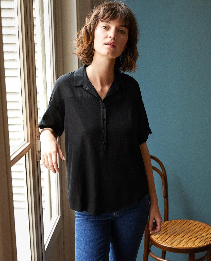 Bimaterial shirt Noir Gaite