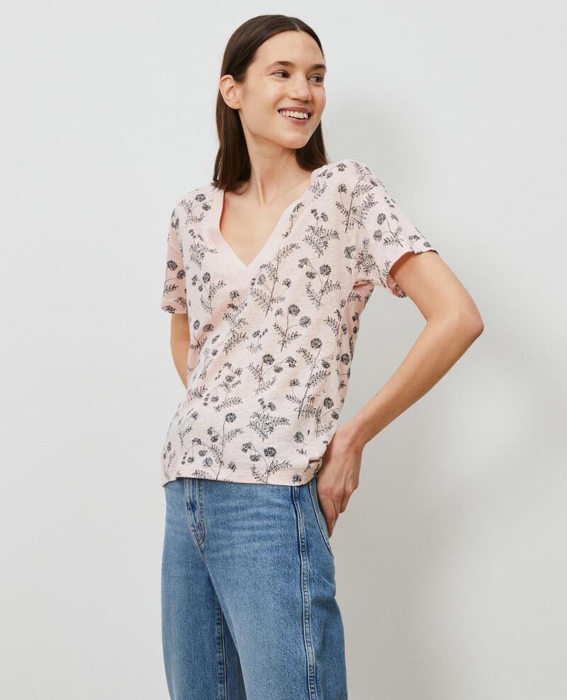 Linen V-neck t-shirt Coronille seashell Nayeli