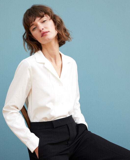 High collar shirt White