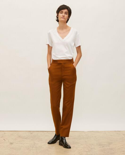 Straight wool boyfriend trousers  DARK NAVY